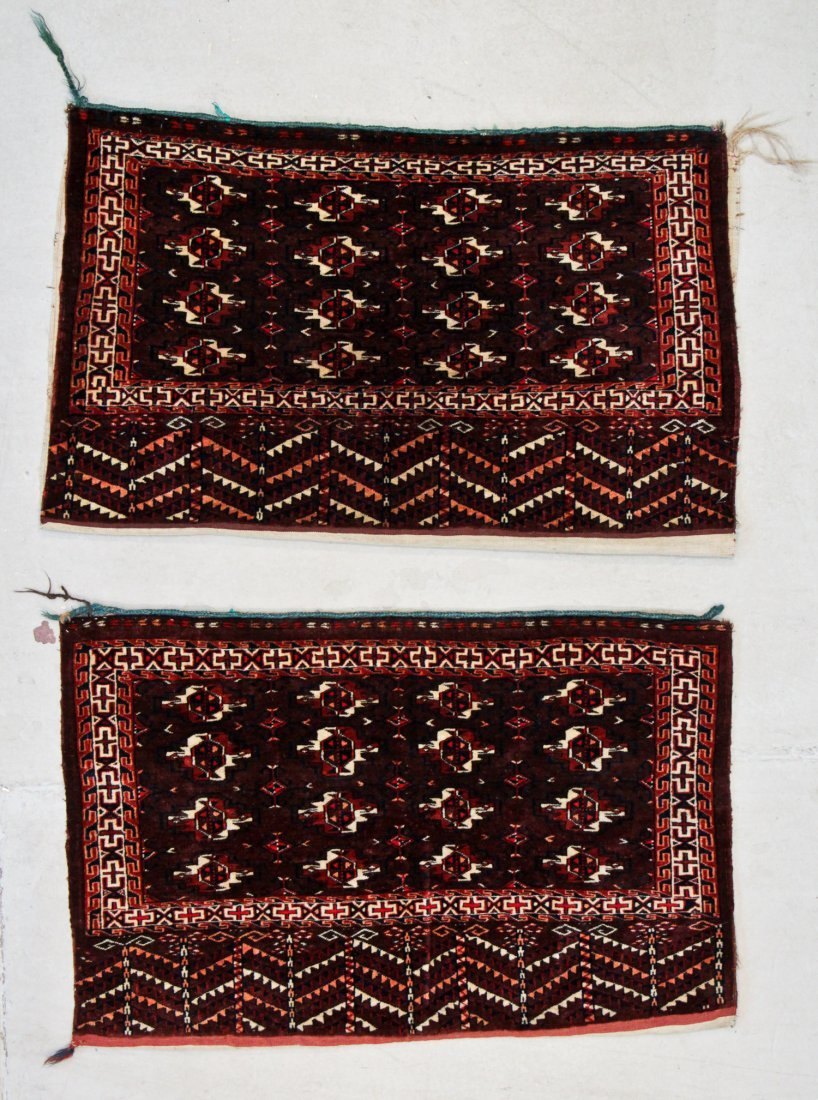 2 Antique Yomud Chuval Rugs