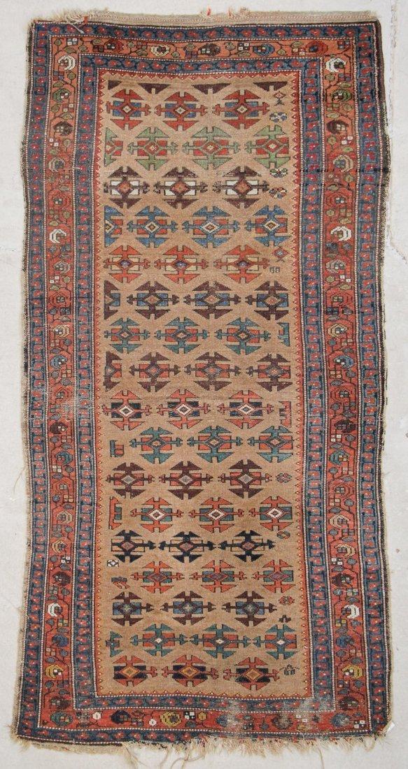 "Antique W. Persian Camel Field Rug: 3'10"" x 7'7"""