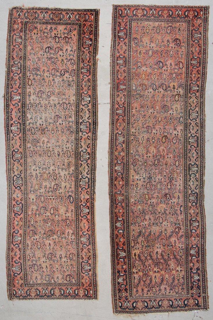 """Pair Antique Hamadan Rugs: 3'2"""" x 10'"""