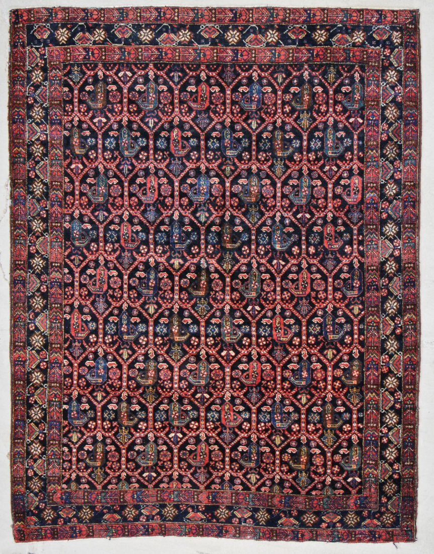"""Antique West Persian Boteh Rug: 5' x 6'5"""" (152 x 196"""