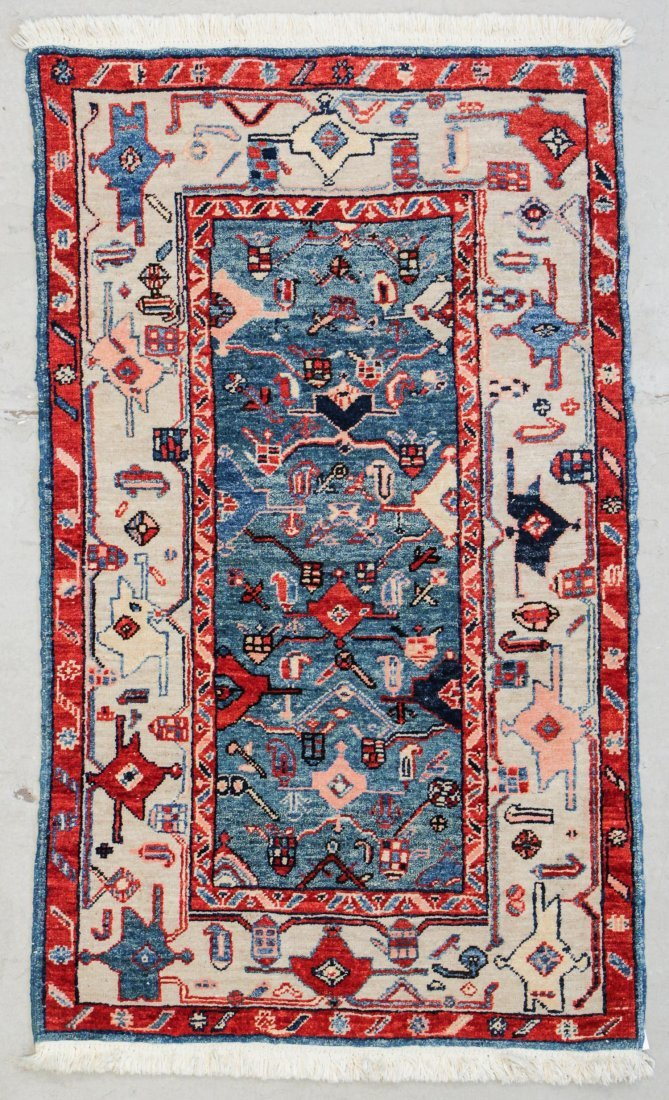"Vintage Azeri Rug: 2'11"" x 4'9"" (89 x 145 cm)"