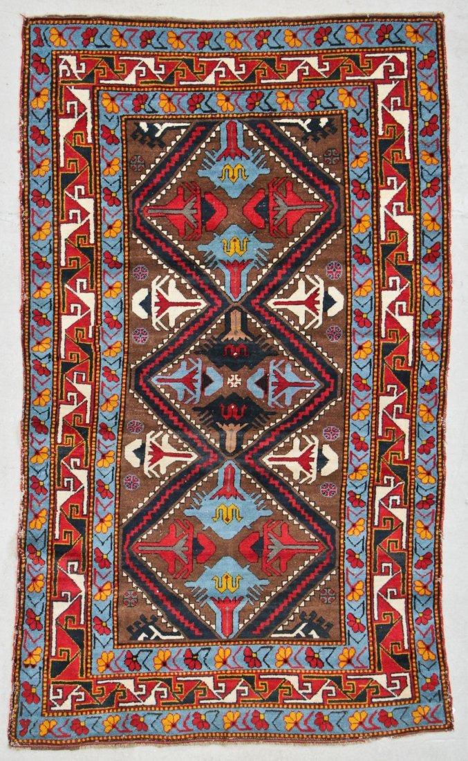 """Vintage Caucasian Rug: 3'9"""" x 6'4"""" (114 x 193 cm)"""