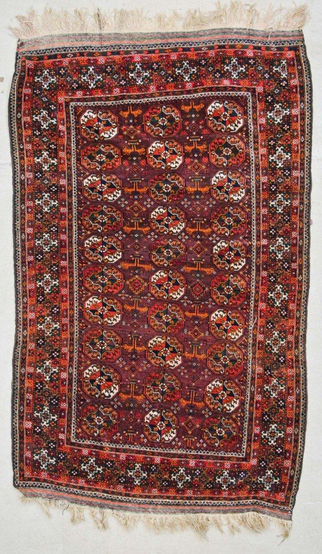 "Vintage Baluch Rug, Afghanistan: 4'1"" x 6'2"" (124 x 188"