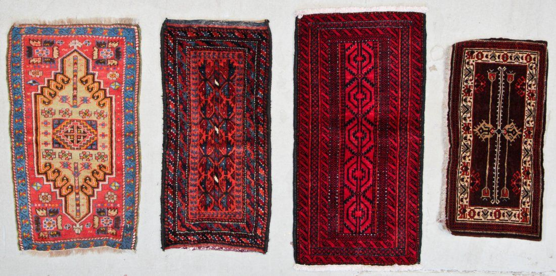4 Old Afghan/Turkish/Beluch Small Rugs