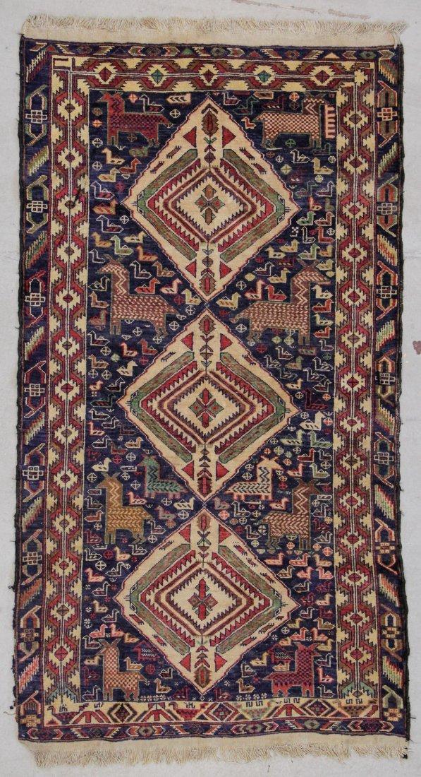 """Vintage Afghan Rug: 3'9"""" x 6'6"""" (114 x 198 cm)"""