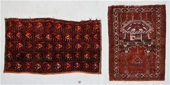 Old Afghan Prayer Rug and Chuval (2)