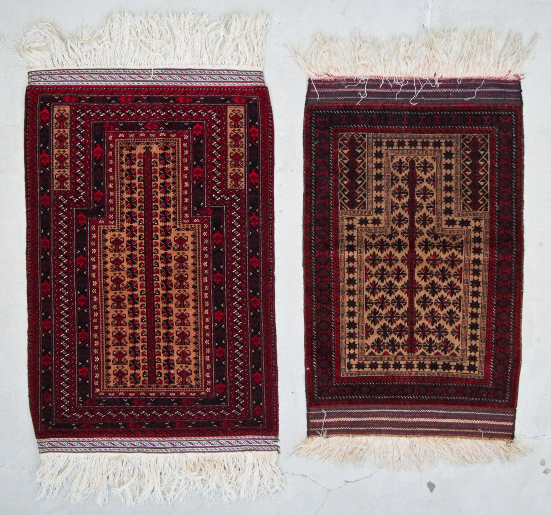 2 Fine 20th C. Beluch Prayer Rugs