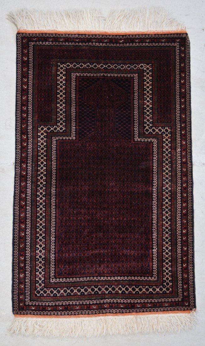"""Vintage Afghan Beluch Rug: 3'2"""" x 5' (97 x 152 cm)"""