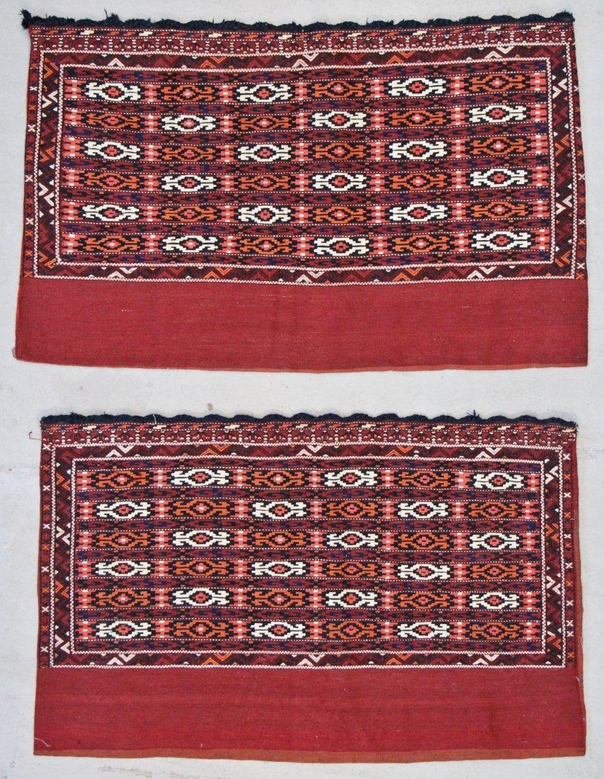 2 Vintage Yomud Flatwoven Chuval Rugs