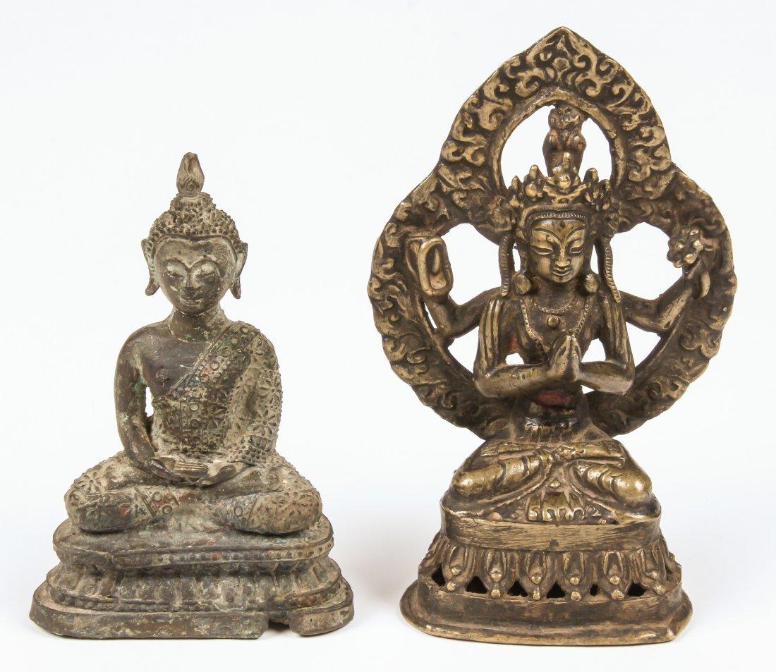 2 Buddha/Kamichari Statues, Ca. 1900