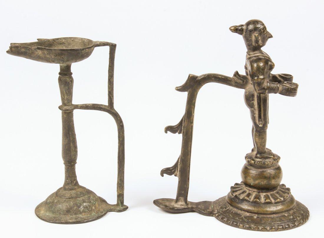 2 Bronze Lamps, Ca. 1750 - 2