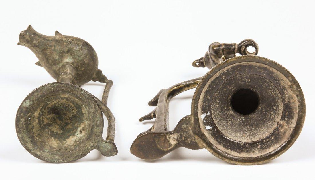 2 Bronze Lamps, Ca. 1750 - 3