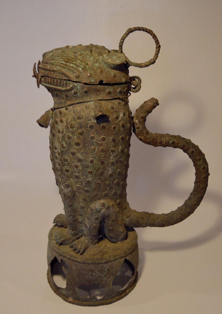 Painted Bronze Leopard Form Urn - 3
