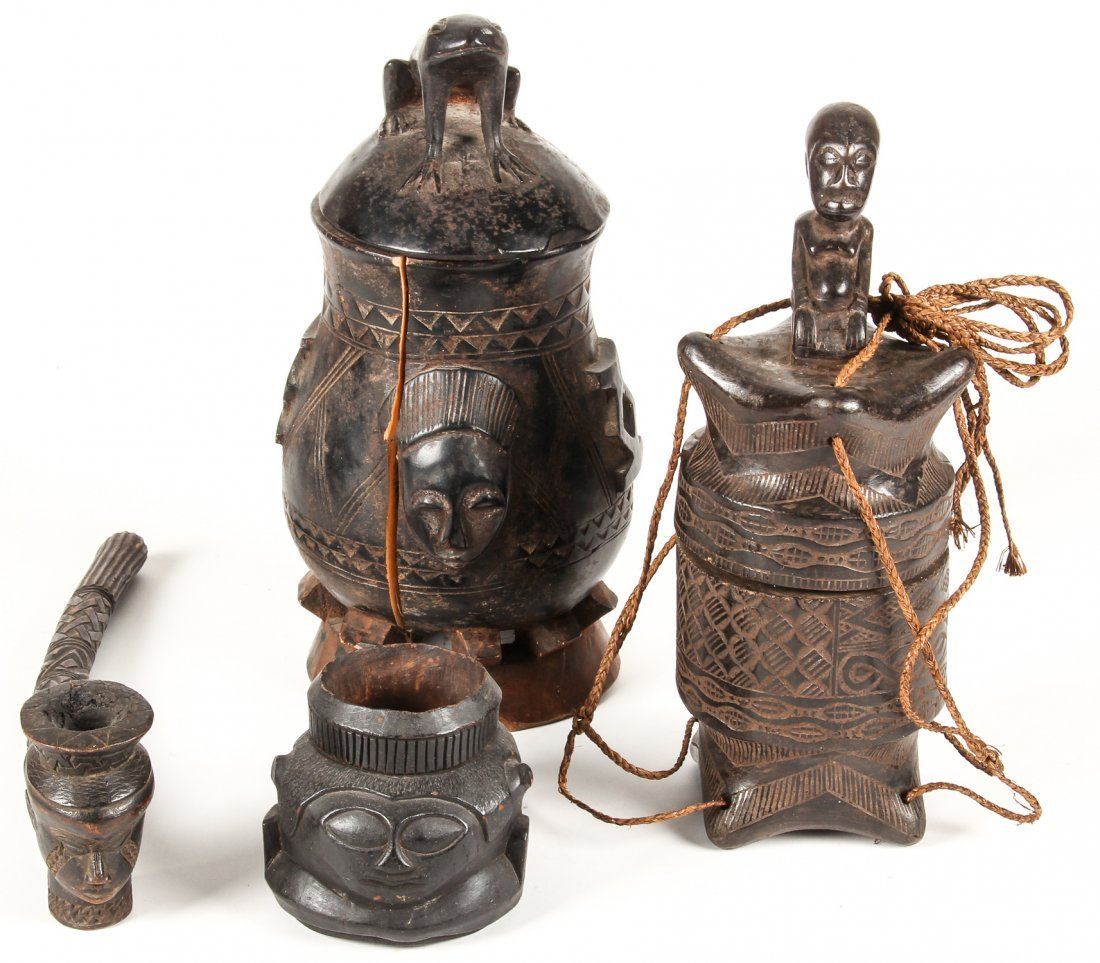 4 Kuba Carved Wood Artifacts