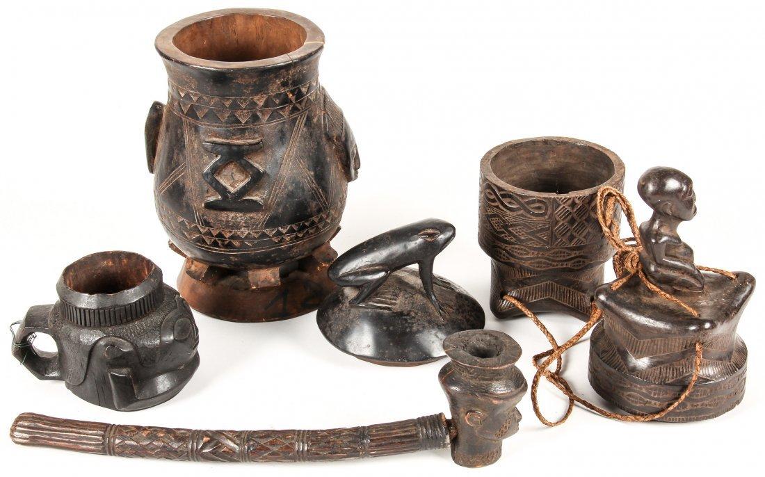4 Kuba Carved Wood Artifacts - 2