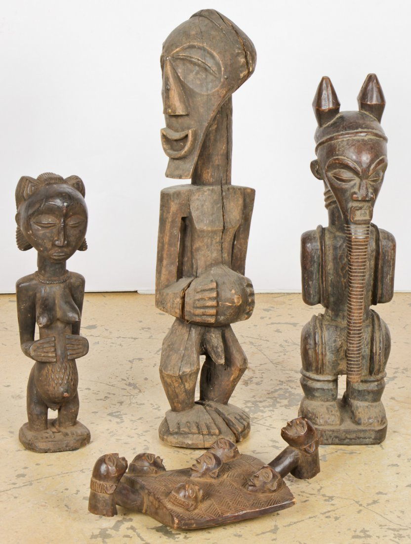 4 Hemba Luba African Carved Wood Artifacts