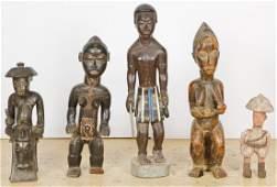 5 Baule African Carved Wood Figures