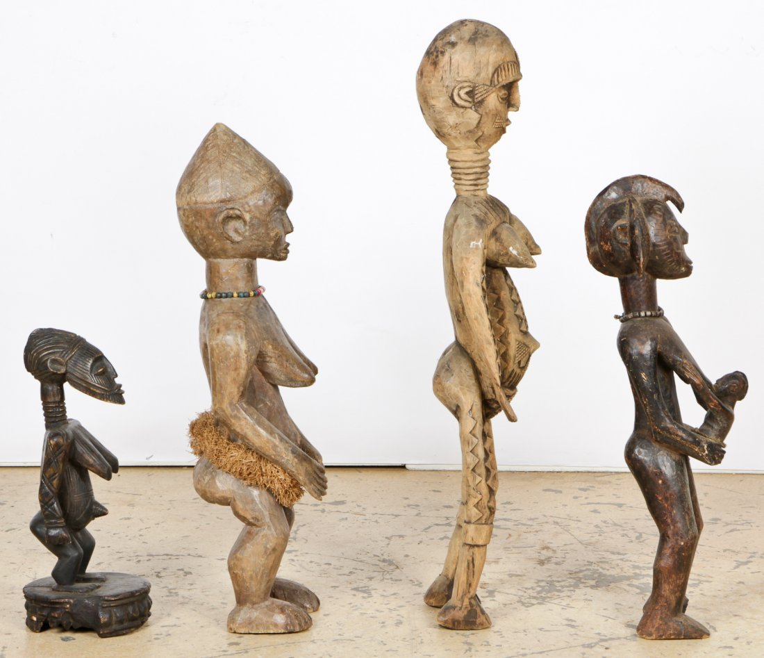 4 African Carved Wood Maternity Figures - 2