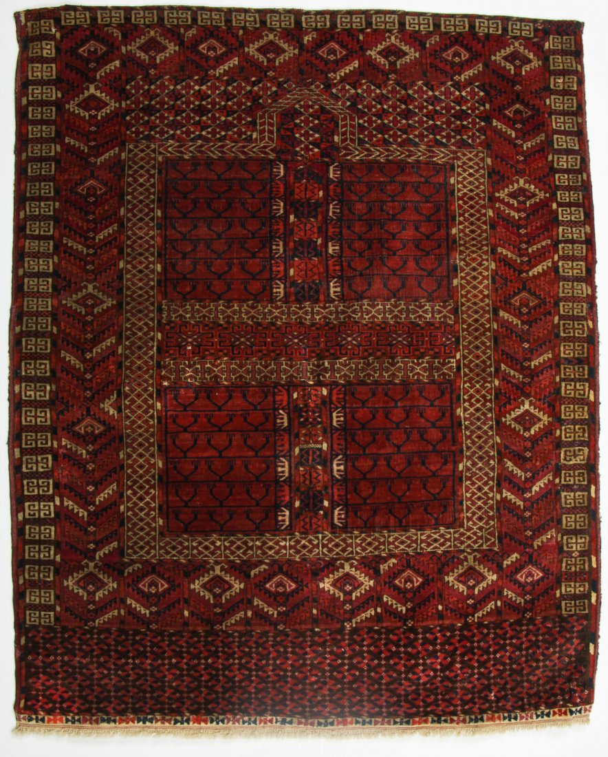 Antique Yomud Ensi Prayer Rug: 4'0'' x 4'10'' (122 x