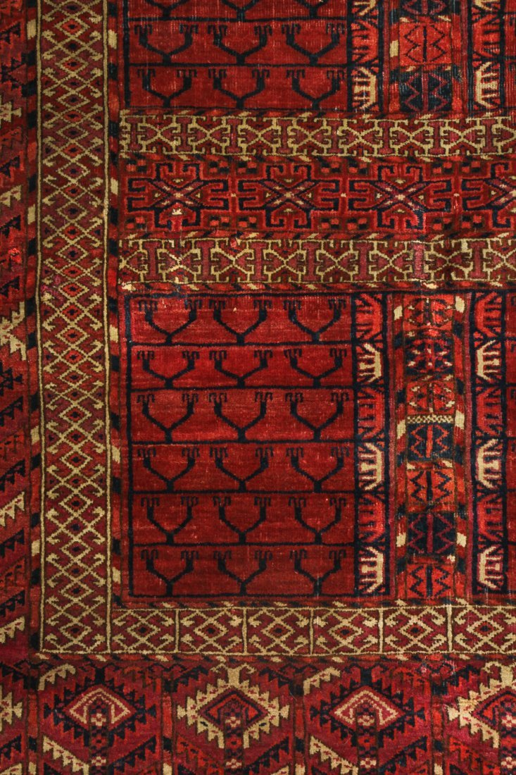 Antique Yomud Ensi Prayer Rug: 4'0'' x 4'10'' (122 x - 2
