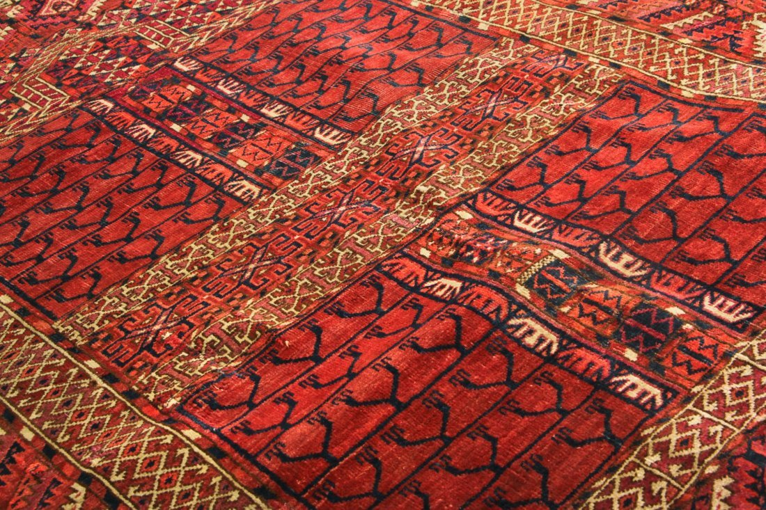 Antique Yomud Ensi Prayer Rug: 4'0'' x 4'10'' (122 x - 3