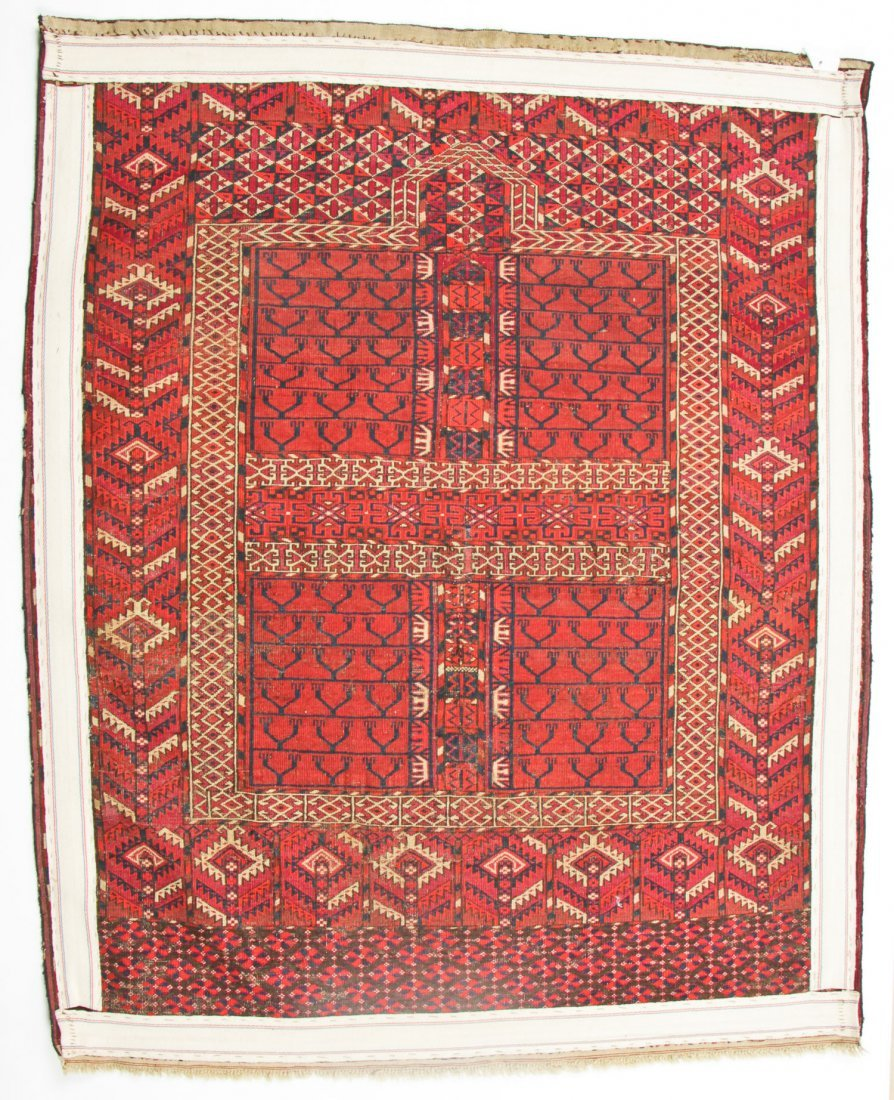 Antique Yomud Ensi Prayer Rug: 4'0'' x 4'10'' (122 x - 6