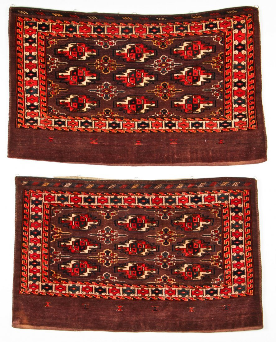 2 Semi-Antique Turkmen Chuval Rugs