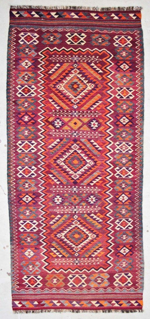 Semi-Antique Central Asian Kilim: 4'7'' x 10'2'' (140 x