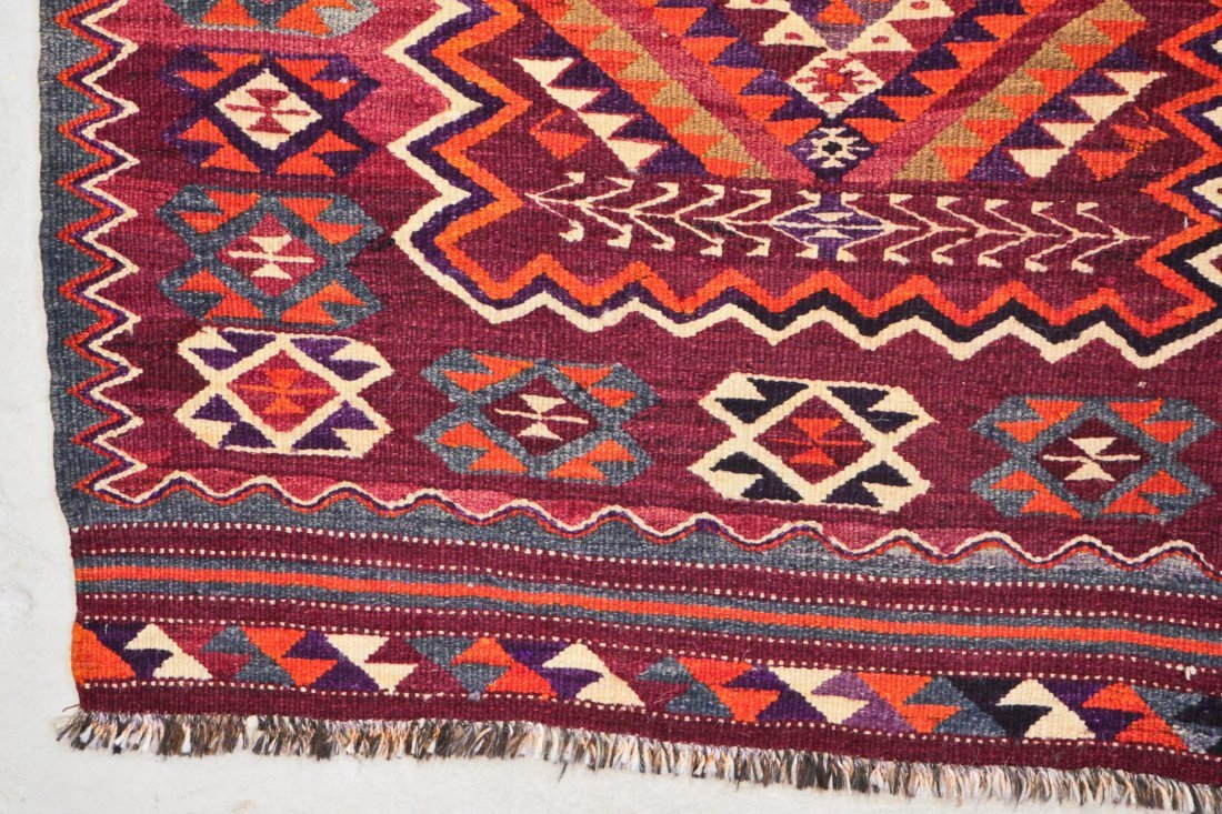 Semi-Antique Central Asian Kilim: 4'7'' x 10'2'' (140 x - 2