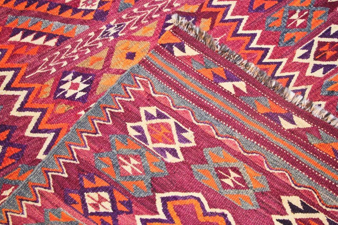 Semi-Antique Central Asian Kilim: 4'7'' x 10'2'' (140 x - 4