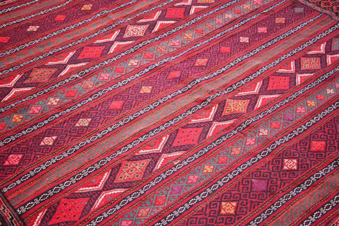 Vintage Afghan Kilim: 6'7'' x 9'3'' (201 x 282 cm) - 3
