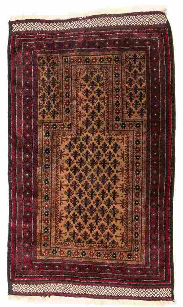 Vintage Afghan Beluch Rug: 2'11'' x 4'3'' (89 x 130 cm)