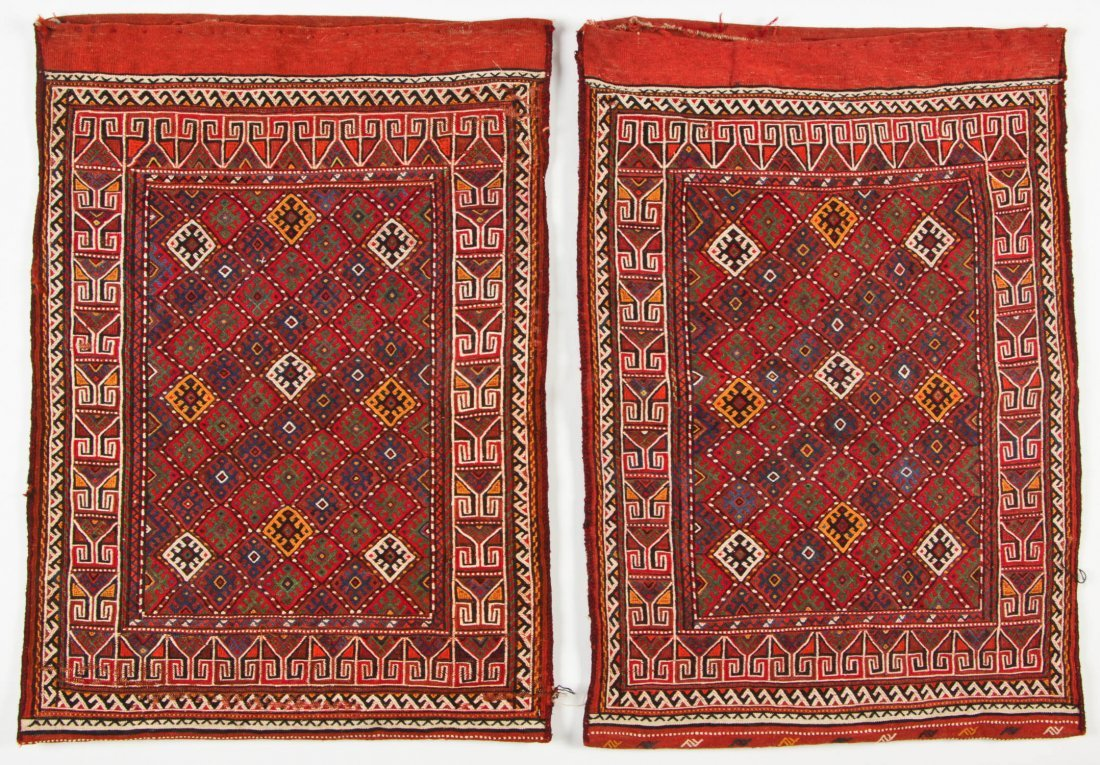 Pair of Semi-Antique Central Asian Sumak Rugs