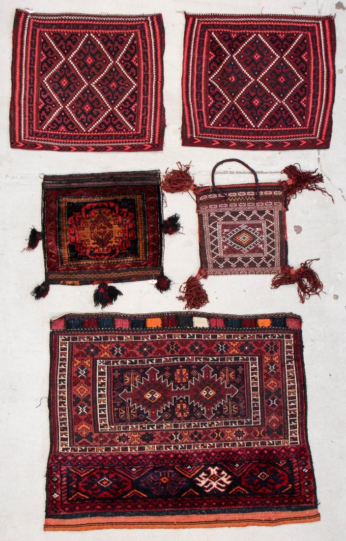 5 Old Central Asian and Persian Rugs/Trappings