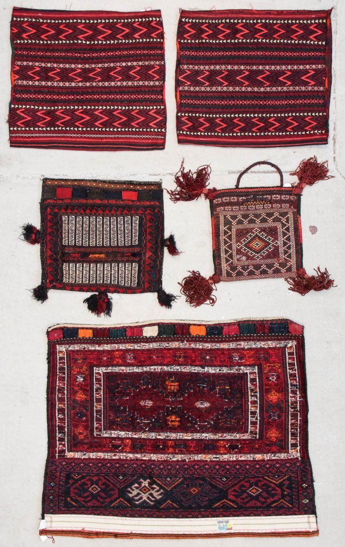 5 Old Central Asian and Persian Rugs/Trappings - 5
