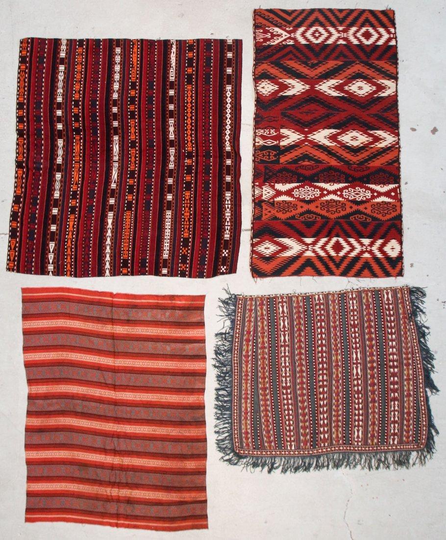 4 Semi-Antique Central Asian Kilims