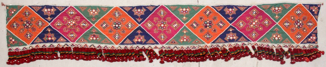 Old Sind Area Embroidered Hanging: 12'3'' x 1'7'' (373