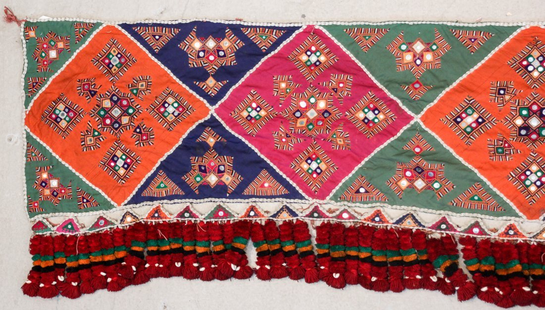Old Sind Area Embroidered Hanging: 12'3'' x 1'7'' (373 - 2