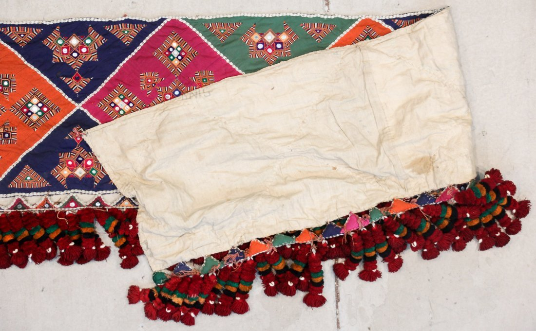 Old Sind Area Embroidered Hanging: 12'3'' x 1'7'' (373 - 3