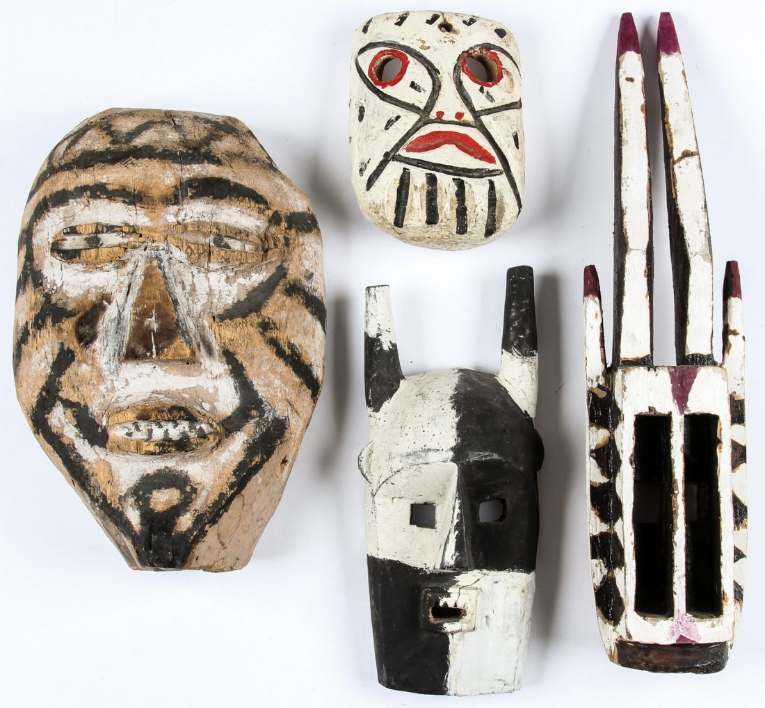4 Carved and Painted Wood Masks