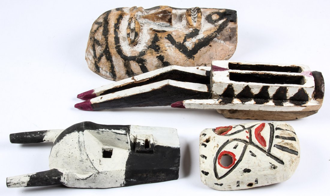 4 Carved and Painted Wood Masks - 2