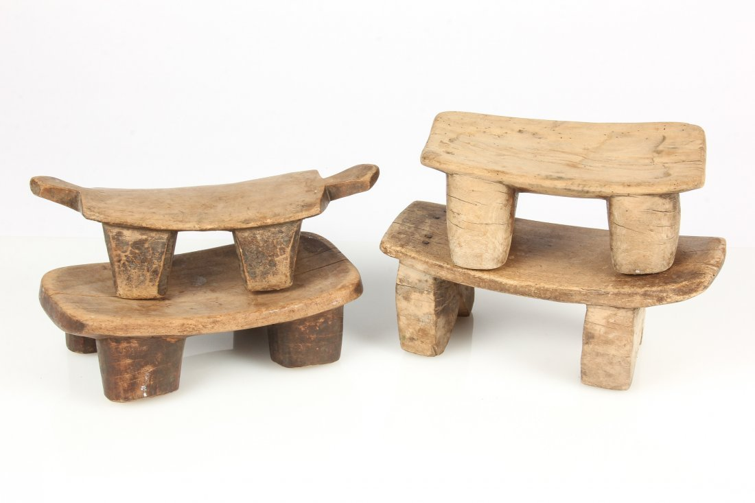 4 Old West African Village Stools