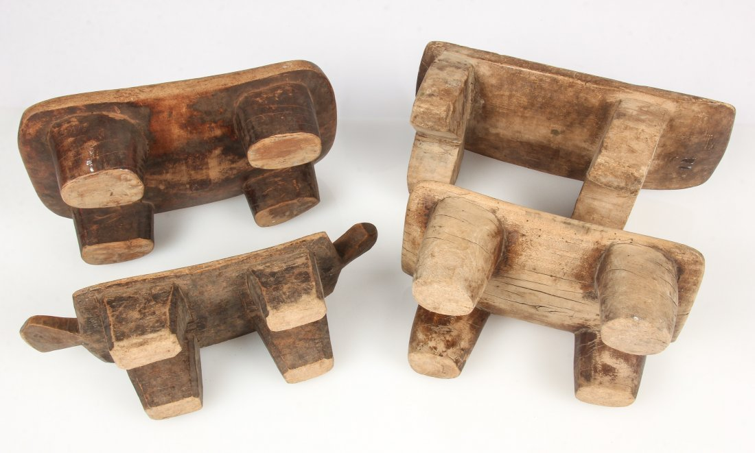 4 Old West African Village Stools - 2
