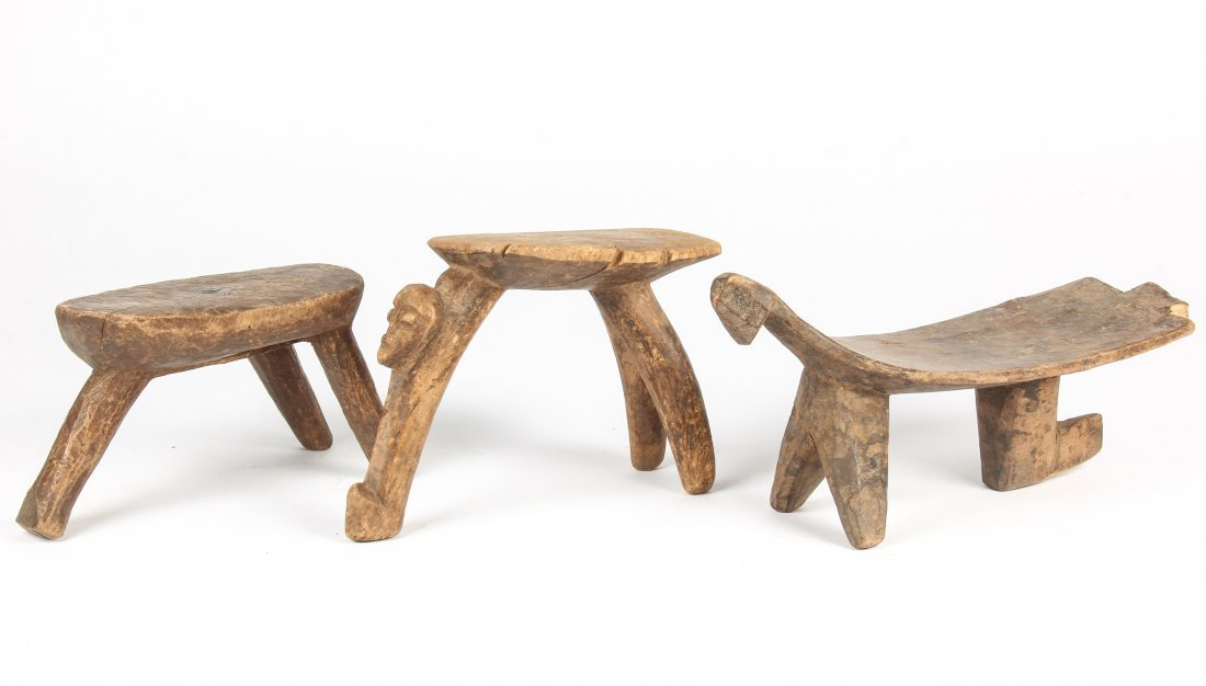 3 Old West African Village Stools