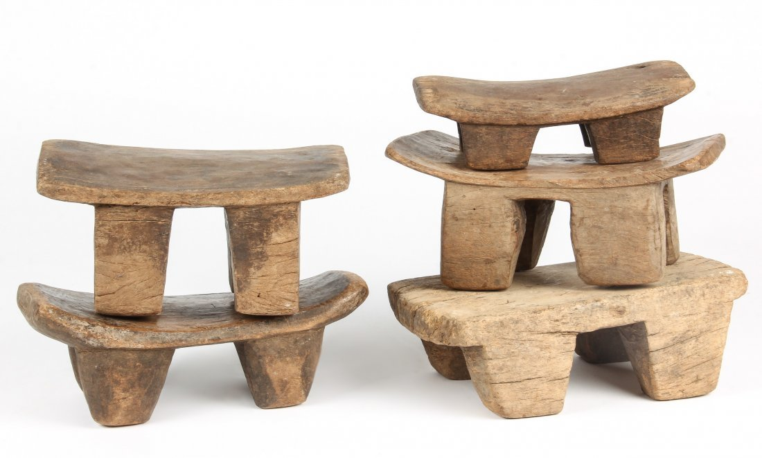 5 Old West African Village Stools