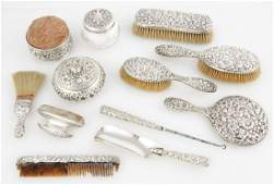 12 pc Sterling Silver Repousse Vanity Suite