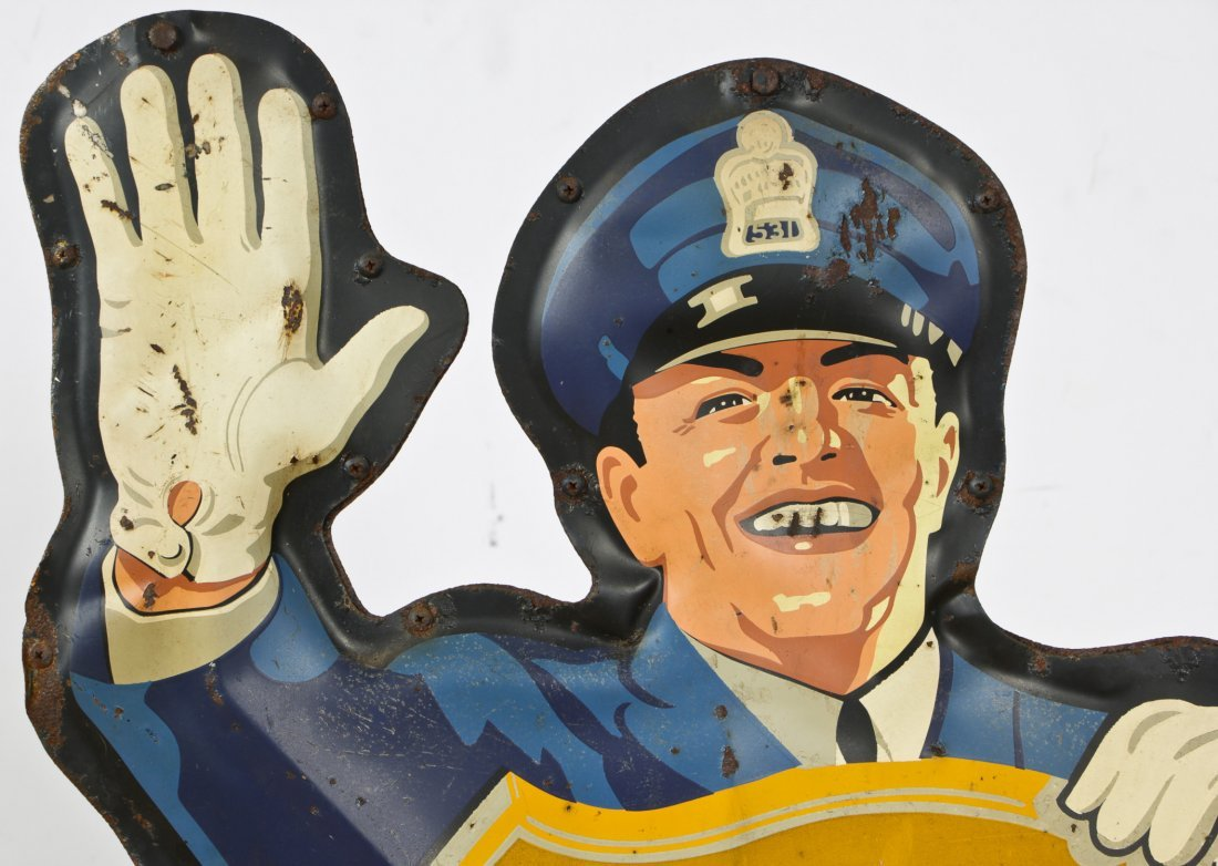 Vintage Coca Cola Police Man Sign - 2
