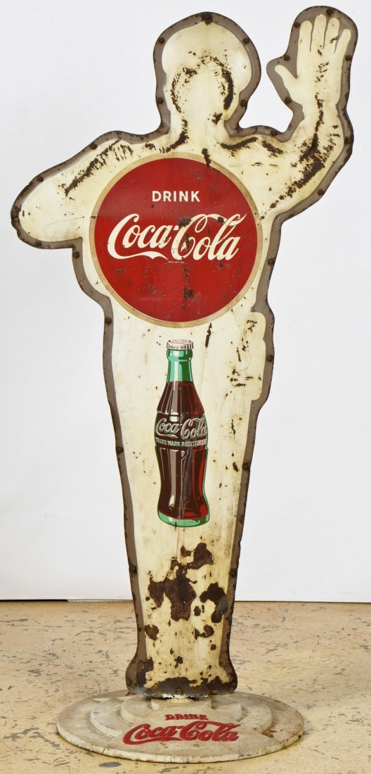 Vintage Coca Cola Police Man Sign - 5