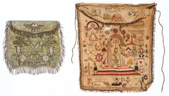 2 Antique Masonic Aprons