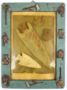 Child's Folk Art Framed Arrowhead Vignette